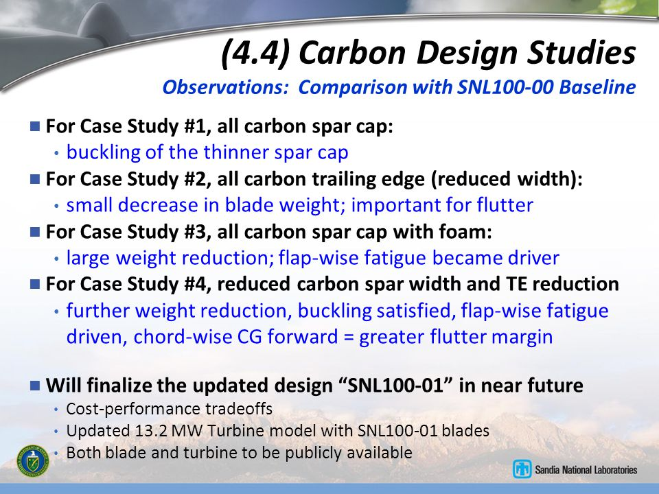 (4.4) Carbon Design Studies Observations: Comparison with SNL100-00 Baseline