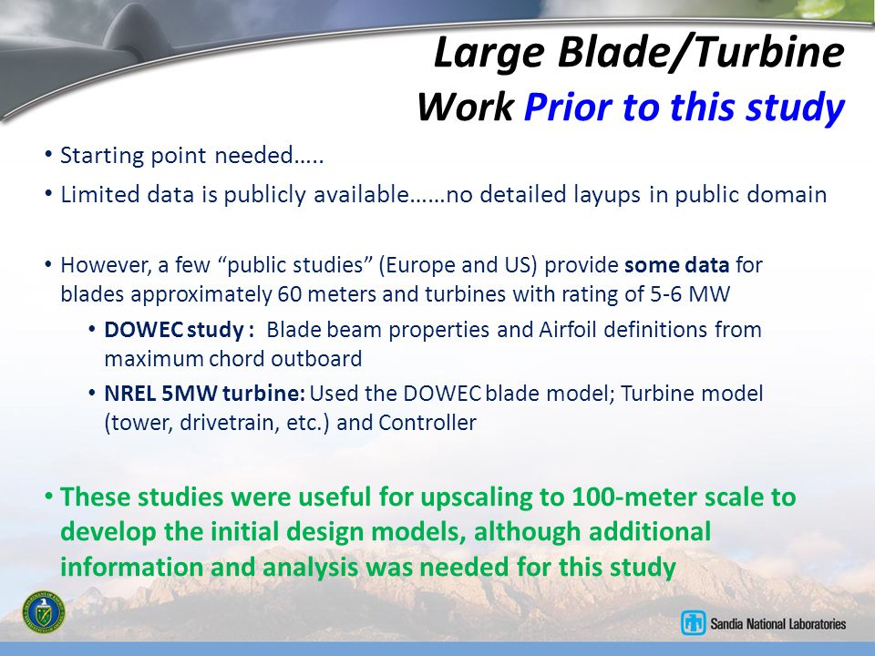 Large Blade/Turbine Work Prior to this study