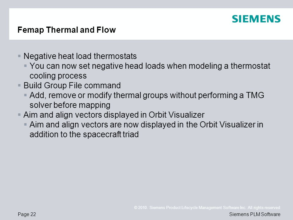 Femap Thermal and Flow Negative heat load thermostats. You can now set negative head loads when modeling a thermostat cooling process.