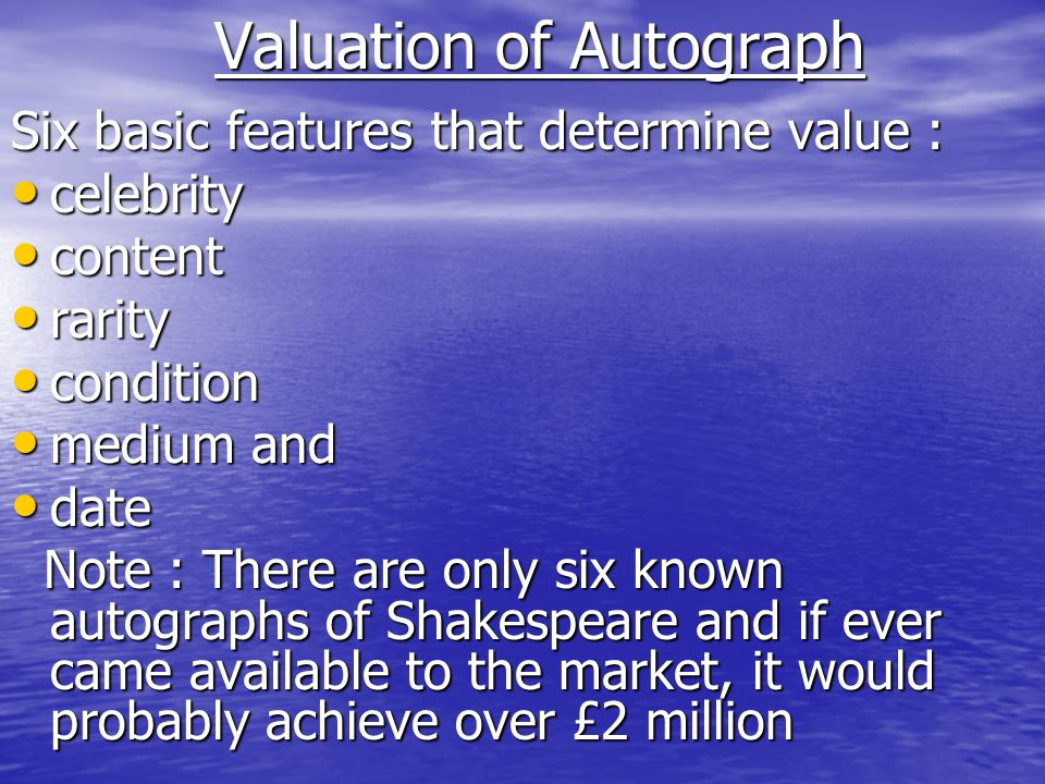 Valuation of Autograph