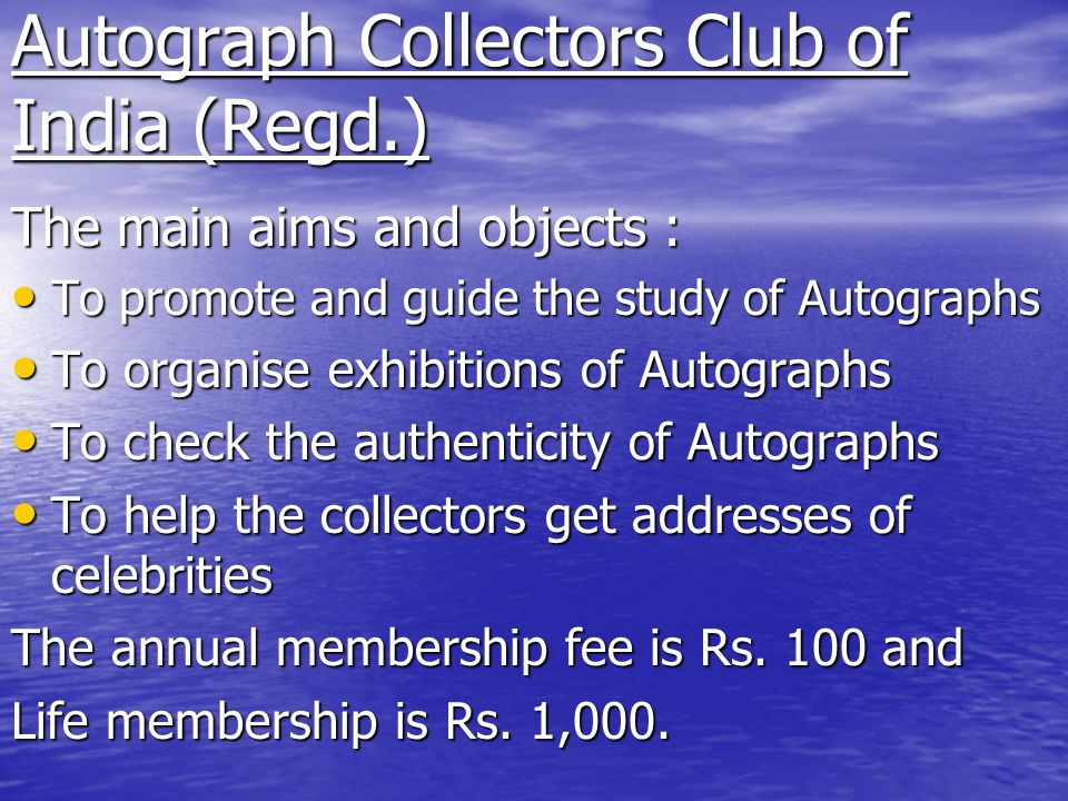 Autograph Collectors Club of India (Regd.)