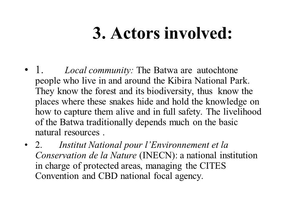 3. Actors involved:
