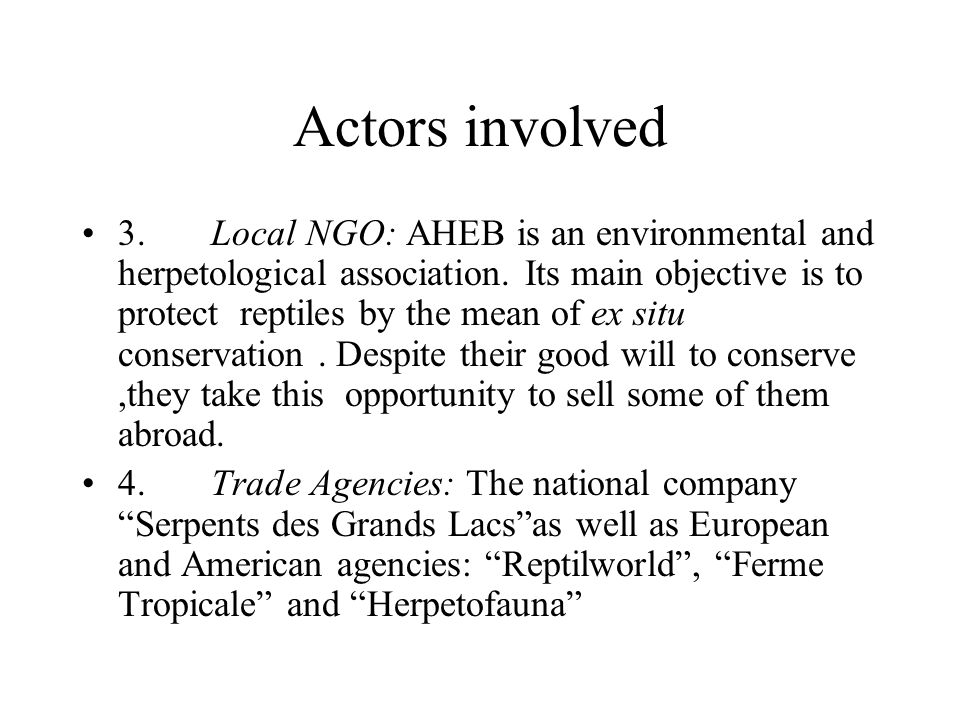 Actors involved