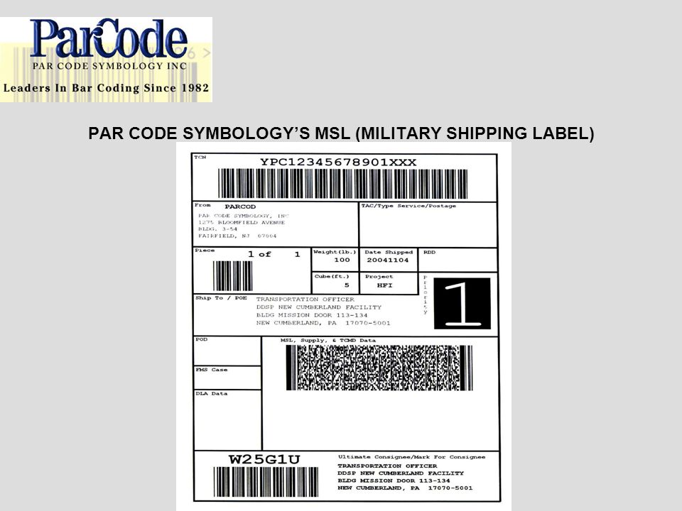 PAR CODE SYMBOLOGY'S MSL (MILITARY SHIPPING LABEL)