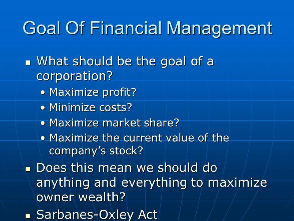 Goal Of Financial Management
