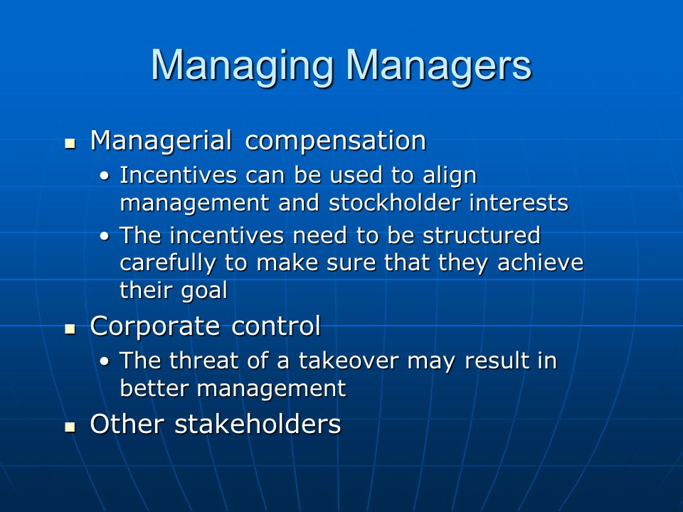 Managing Managers Managerial compensation Corporate control