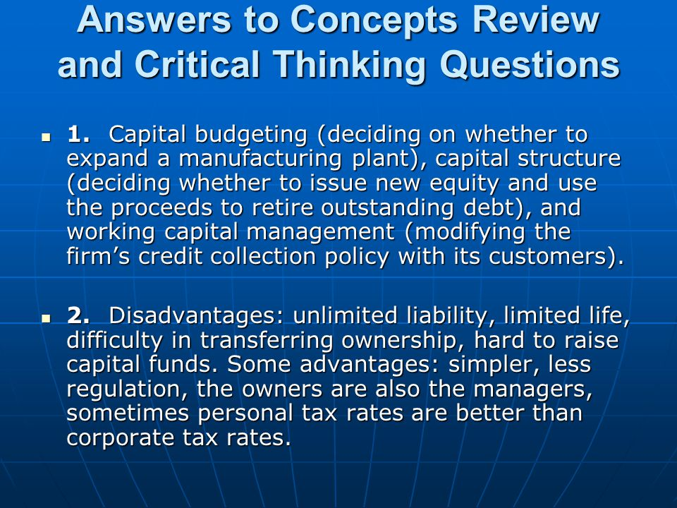 Answers to Concepts Review and Critical Thinking Questions