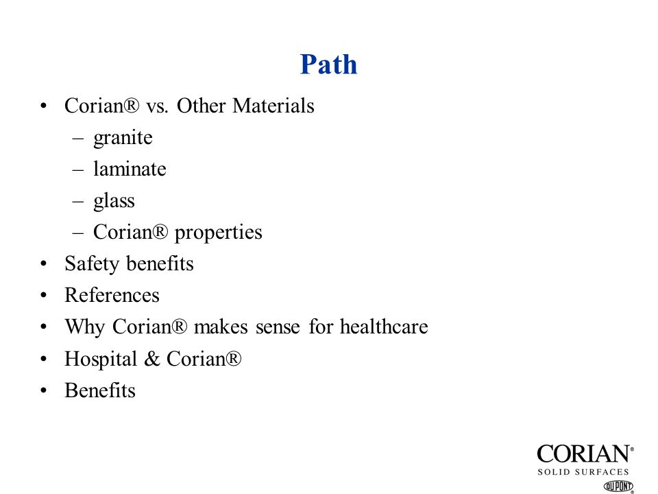 Path Corian® vs. Other Materials granite laminate glass