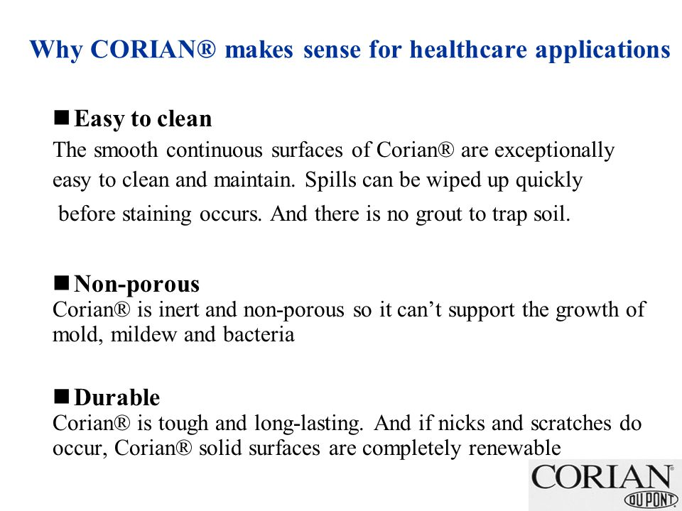 Why CORIAN® makes sense for healthcare applications