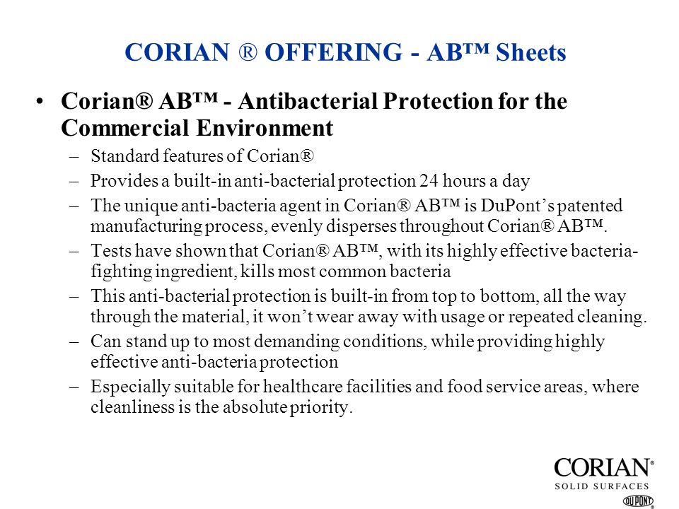 CORIAN ® OFFERING - AB™ Sheets