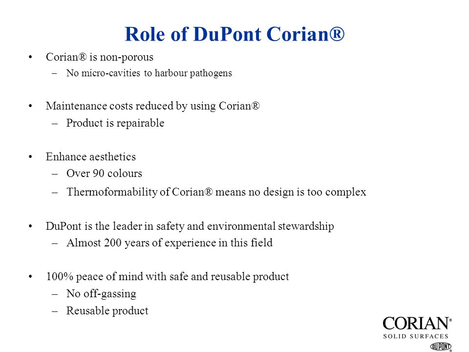 Role of DuPont Corian® Corian® is non-porous