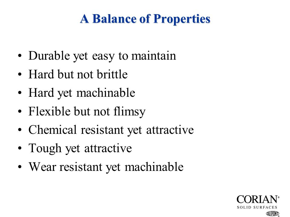 A Balance of Properties