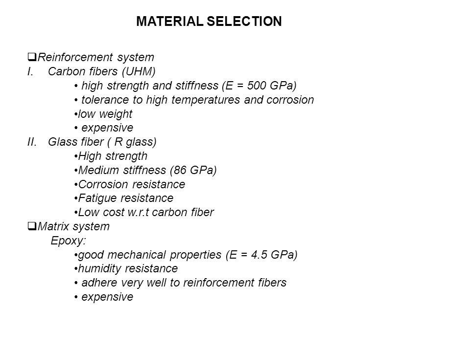 MATERIAL SELECTION Reinforcement system Carbon fibers (UHM)