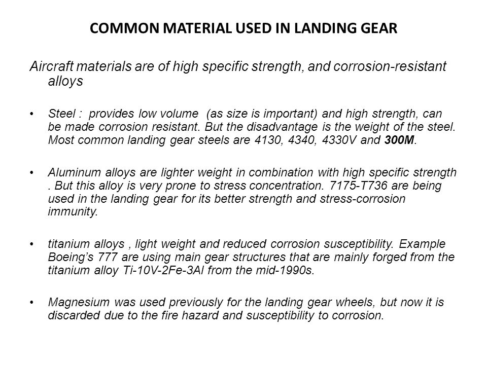 COMMON MATERIAL USED IN LANDING GEAR