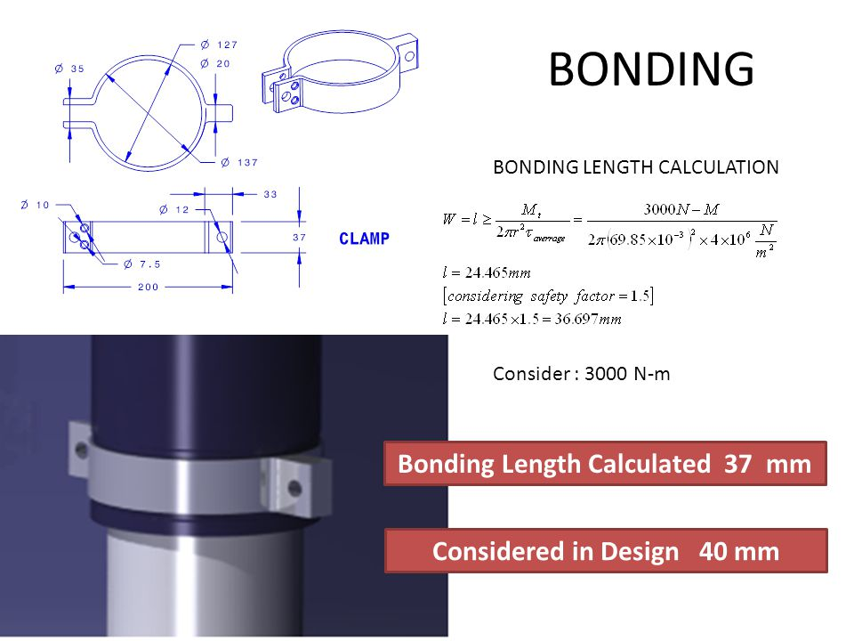 Bonding Length Calculated 37 mm Considered in Design 40 mm