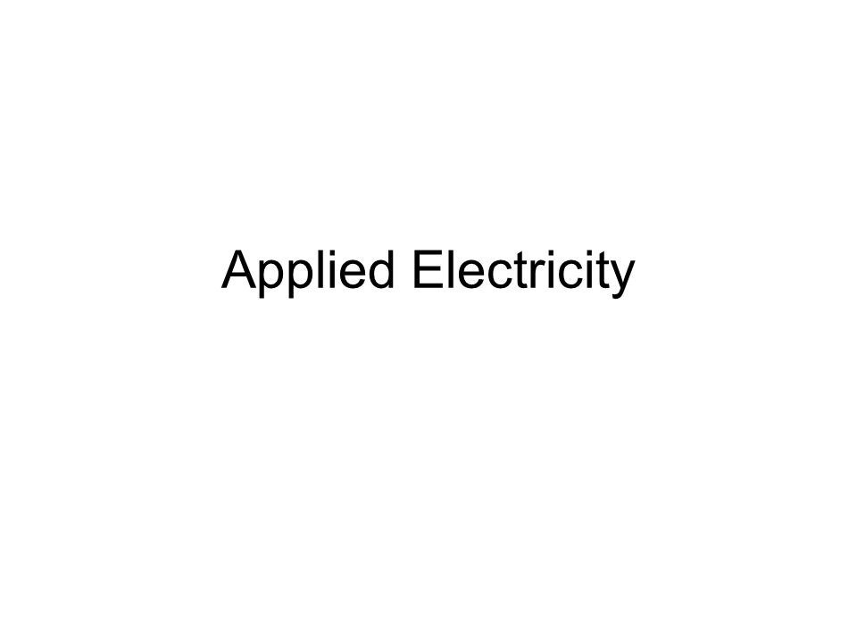 Applied Electricity
