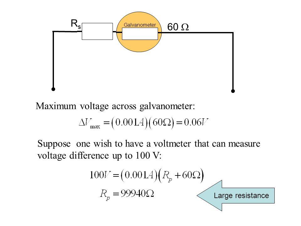 Maximum voltage across galvanometer: