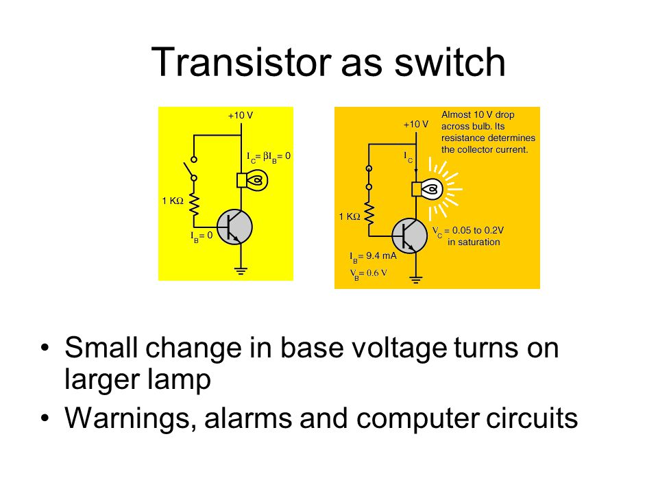 Transistor as switch Small change in base voltage turns on larger lamp