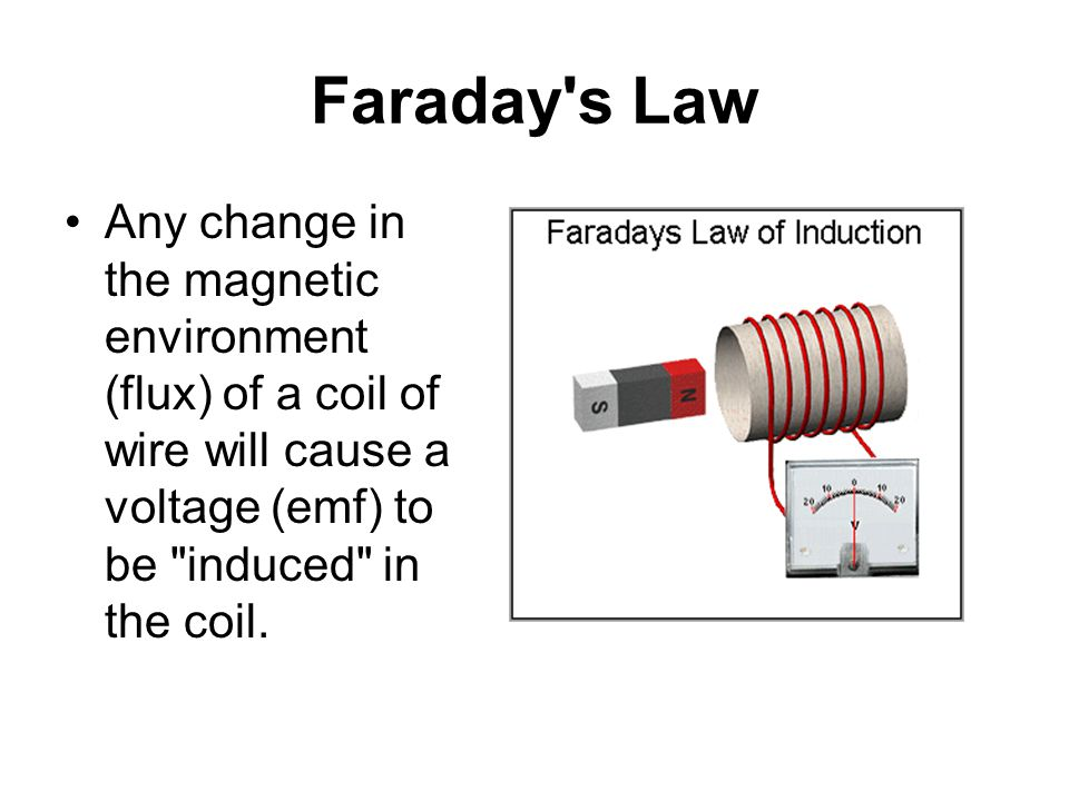 Faraday s Law Any change in the magnetic environment (flux) of a coil of wire will cause a voltage (emf) to be induced in the coil.