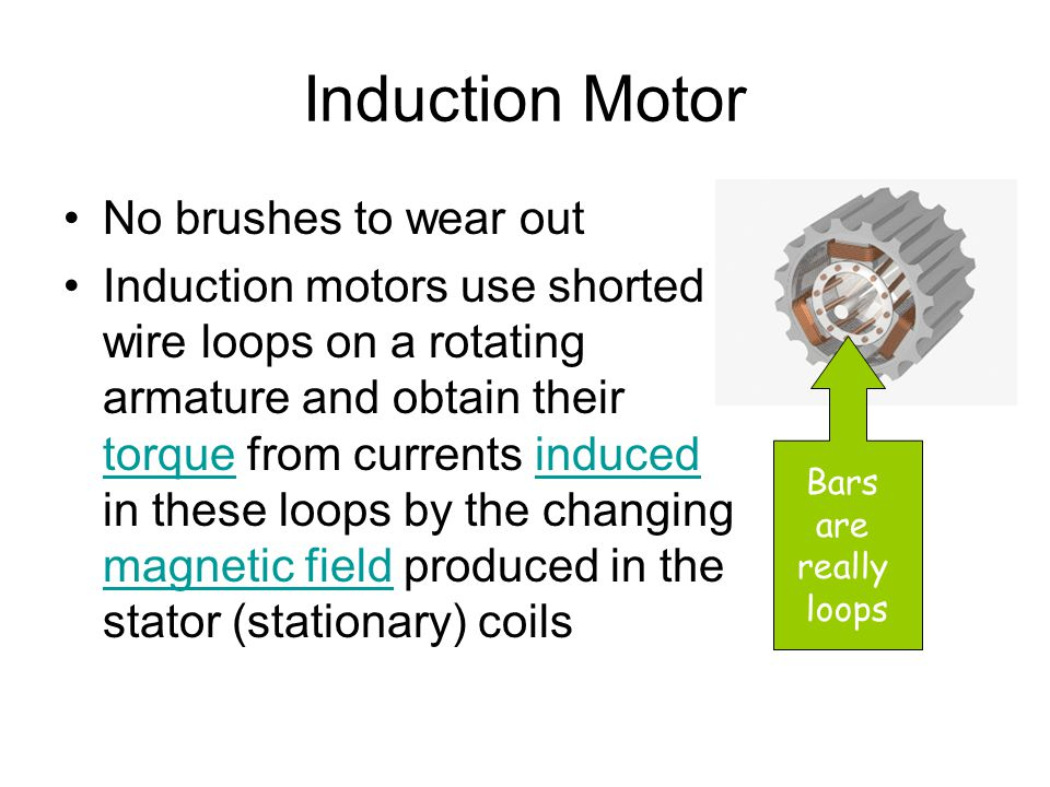 Induction Motor No brushes to wear out