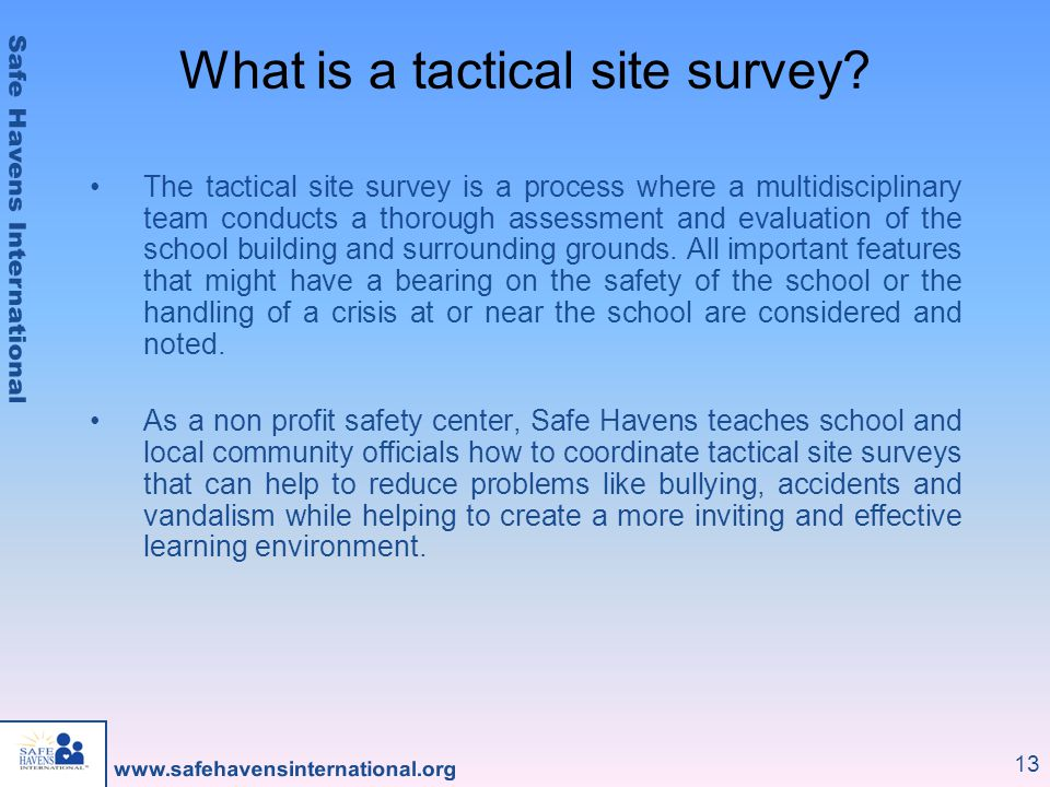 What is a tactical site survey