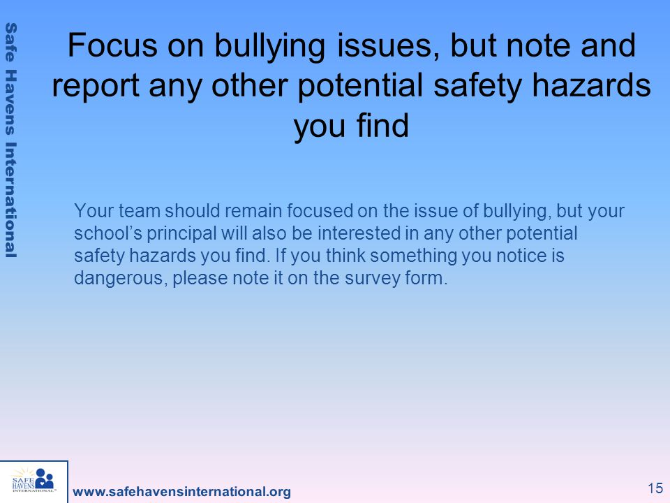 Focus on bullying issues, but note and report any other potential safety hazards you find