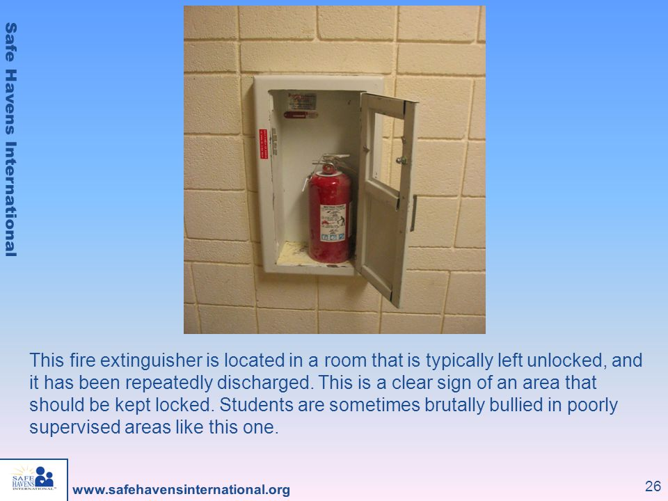 This fire extinguisher is located in a room that is typically left unlocked, and it has been repeatedly discharged.