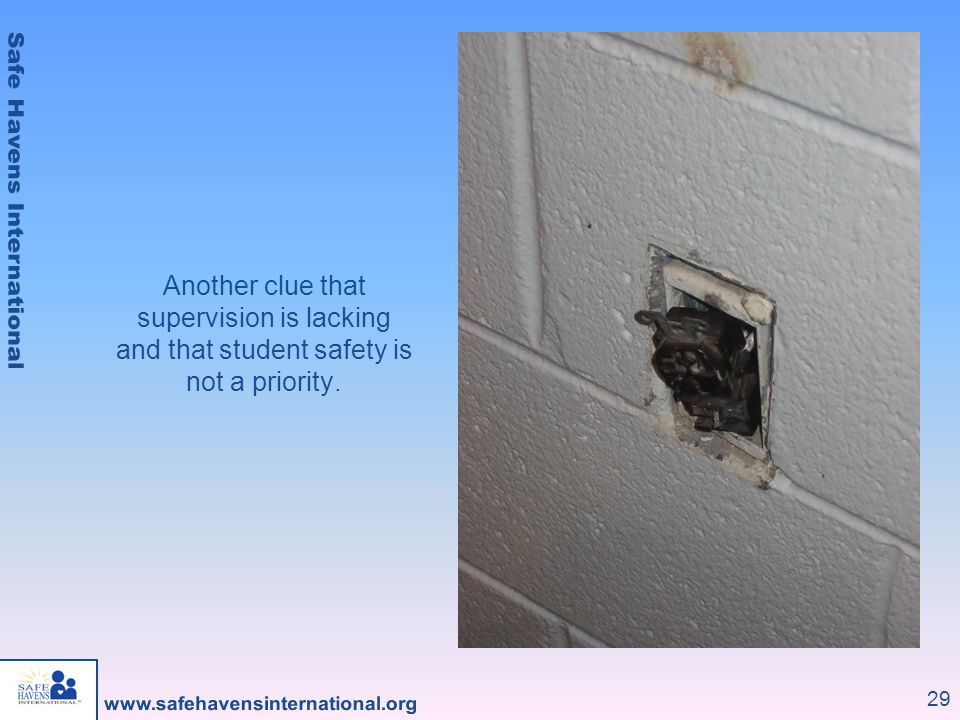 Another clue that supervision is lacking and that student safety is not a priority.
