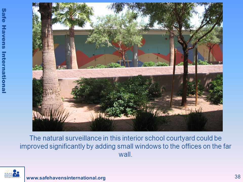 The natural surveillance in this interior school courtyard could be improved significantly by adding small windows to the offices on the far wall.