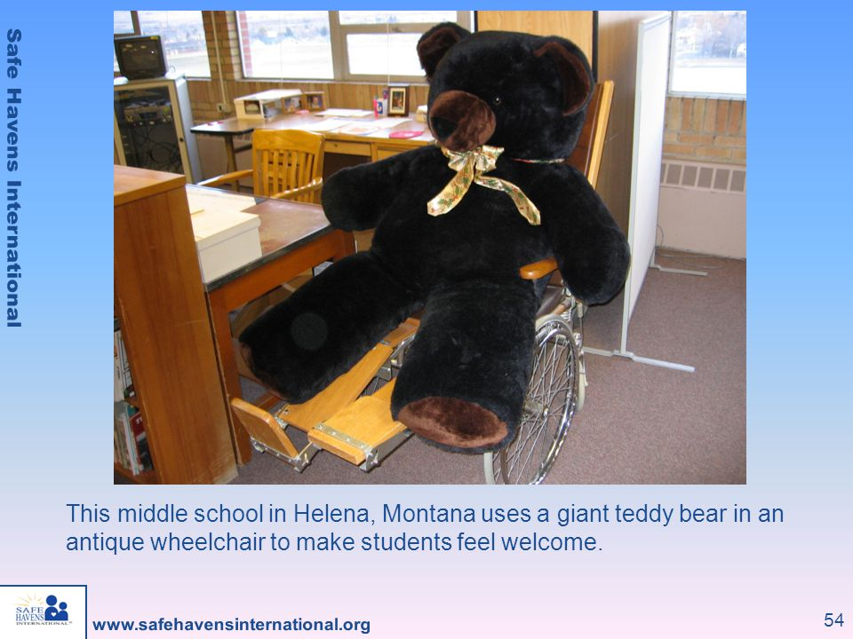 This middle school in Helena, Montana uses a giant teddy bear in an antique wheelchair to make students feel welcome.