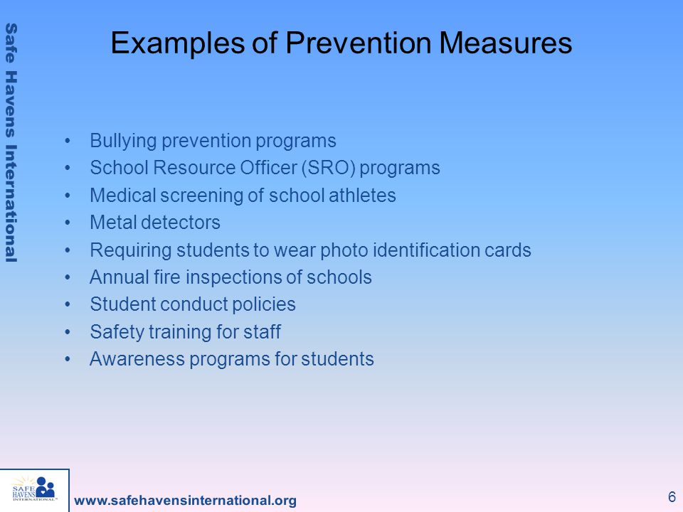 Examples of Prevention Measures