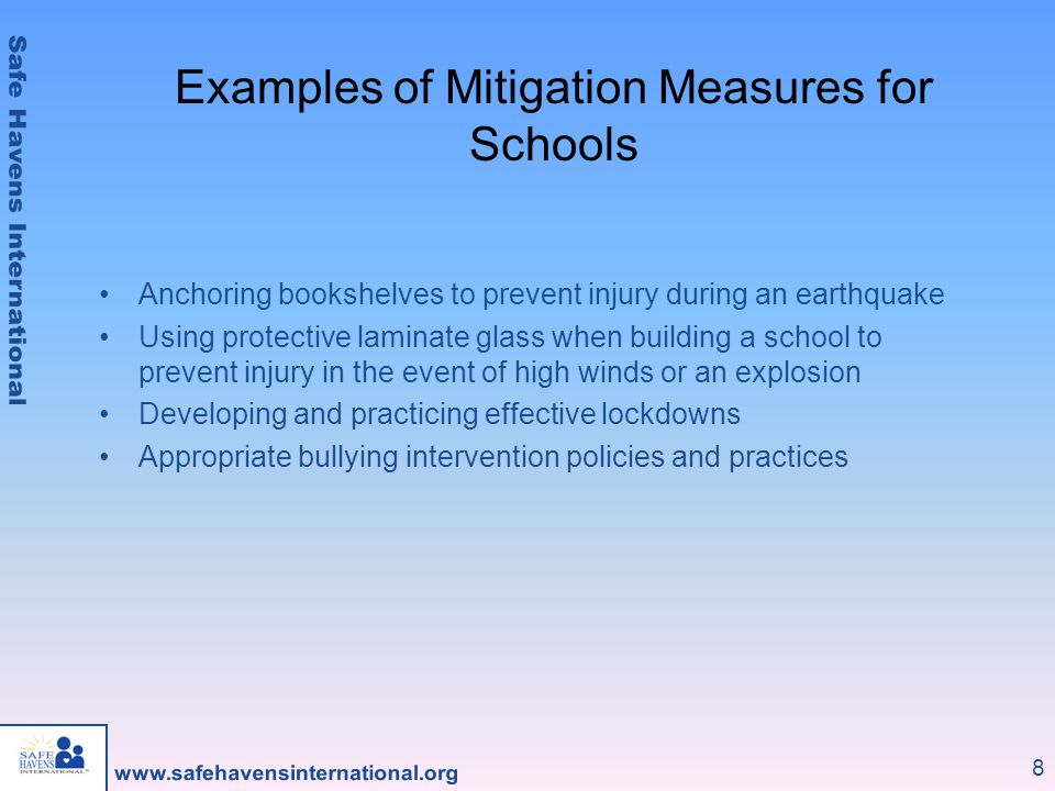 Examples of Mitigation Measures for Schools