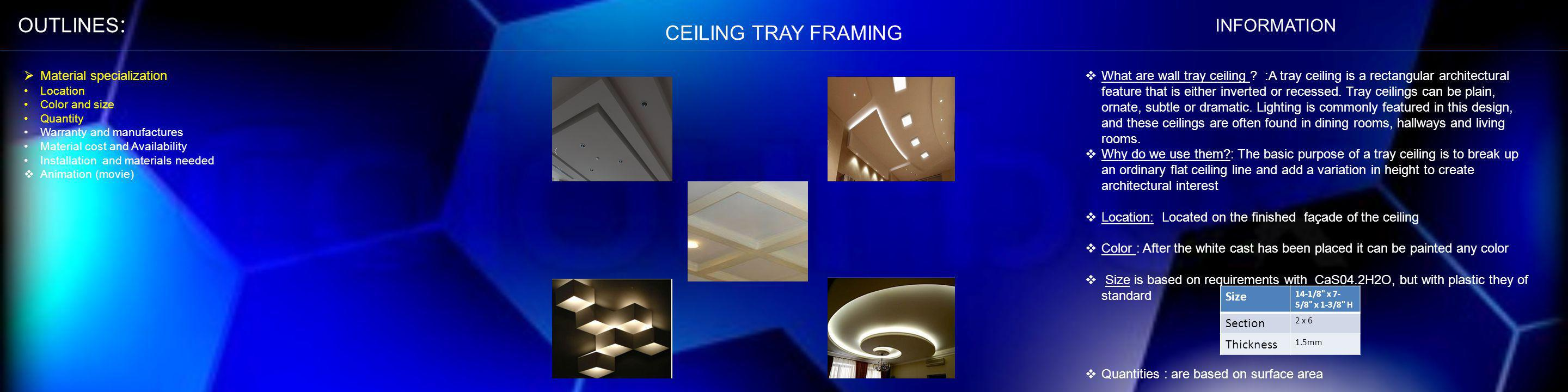 OUTLINES: CEILING TRAY FRAMING INFORMATION Material specialization