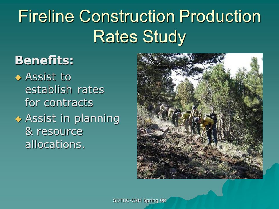 Fireline Construction Production Rates Study