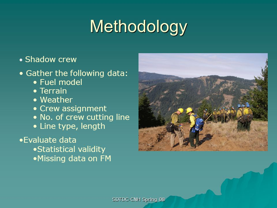 Methodology Gather the following data: Fuel model Terrain Weather