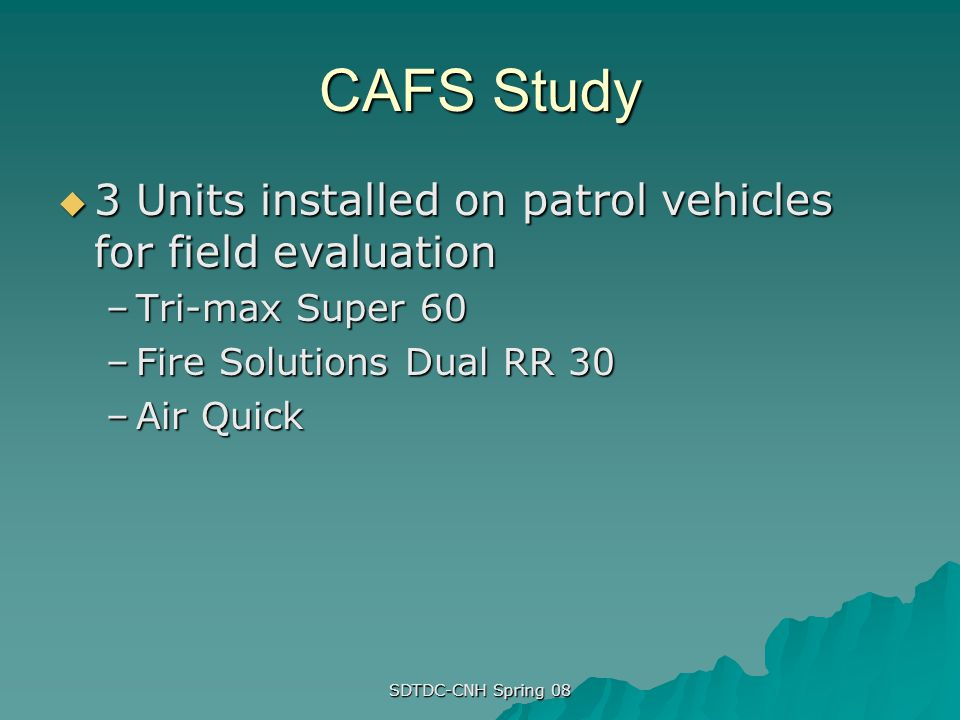 CAFS Study 3 Units installed on patrol vehicles for field evaluation