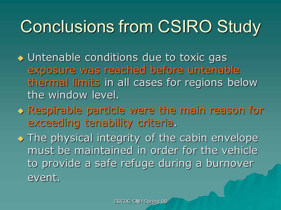 Conclusions from CSIRO Study