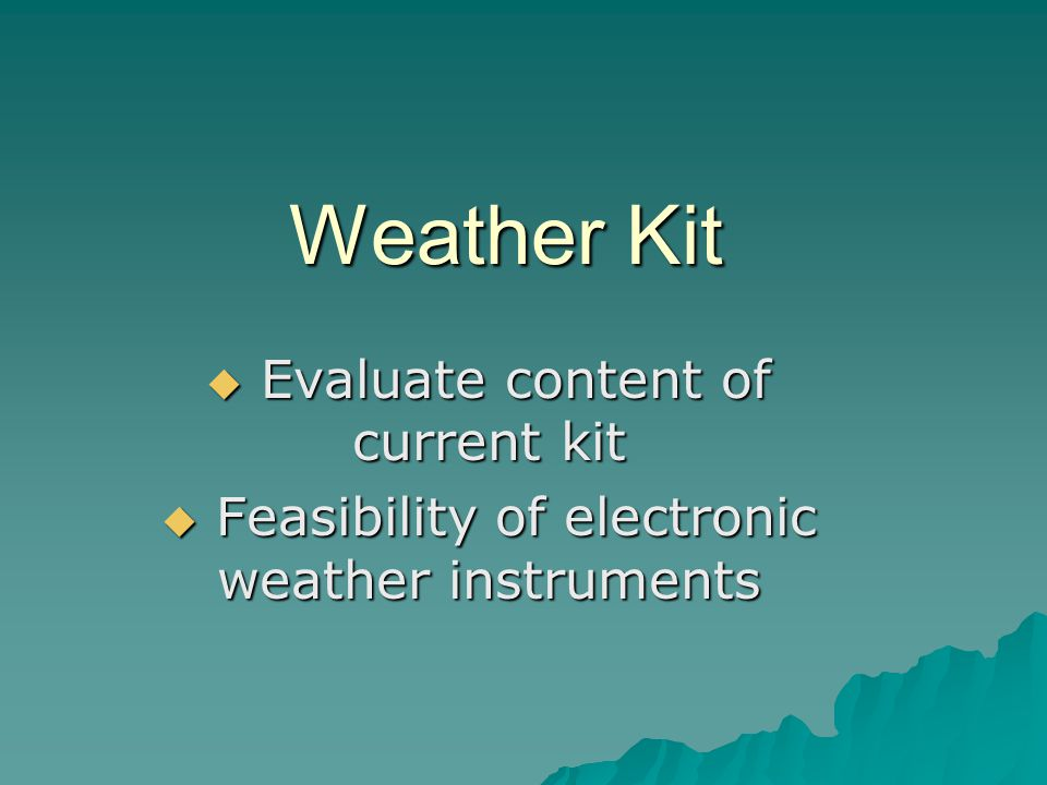 Weather Kit Evaluate content of current kit