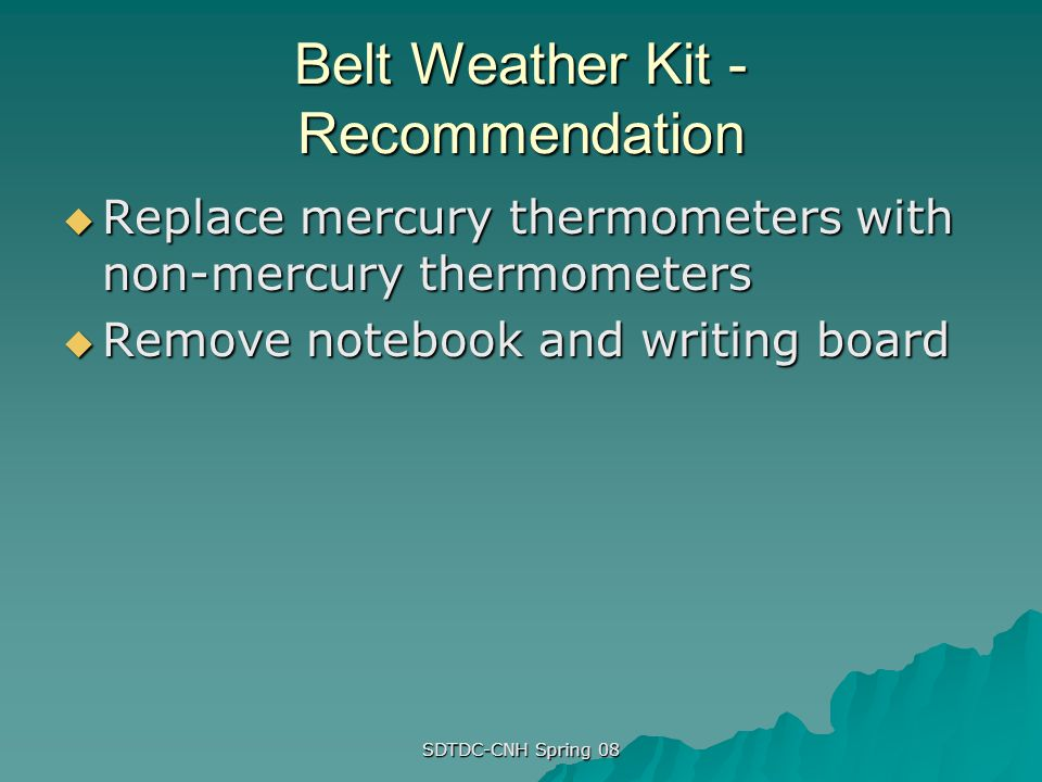 Belt Weather Kit - Recommendation