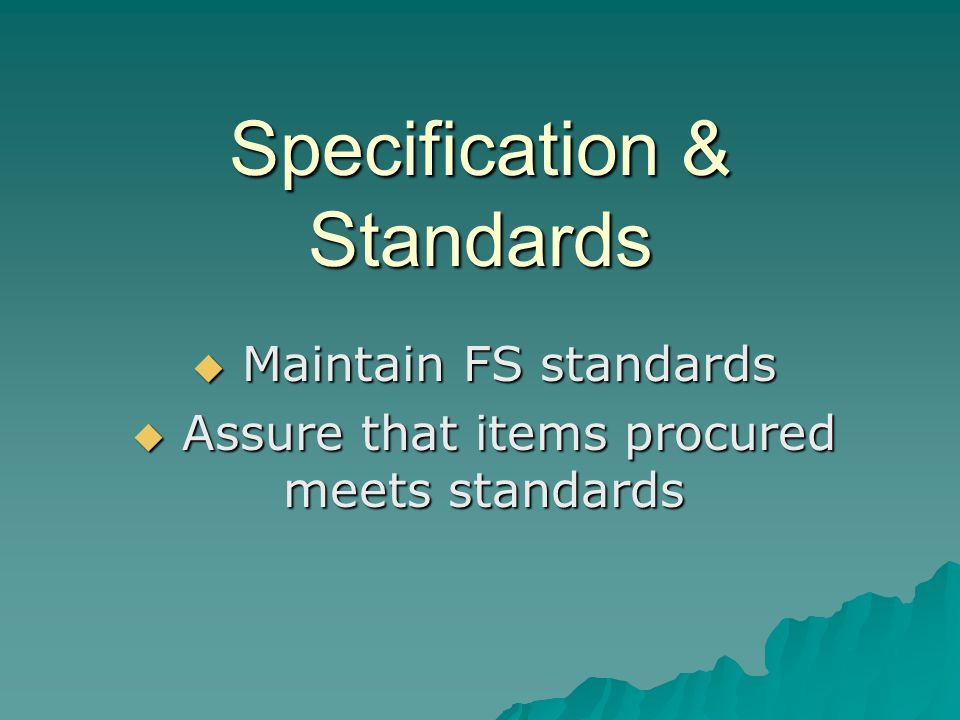 Specification & Standards