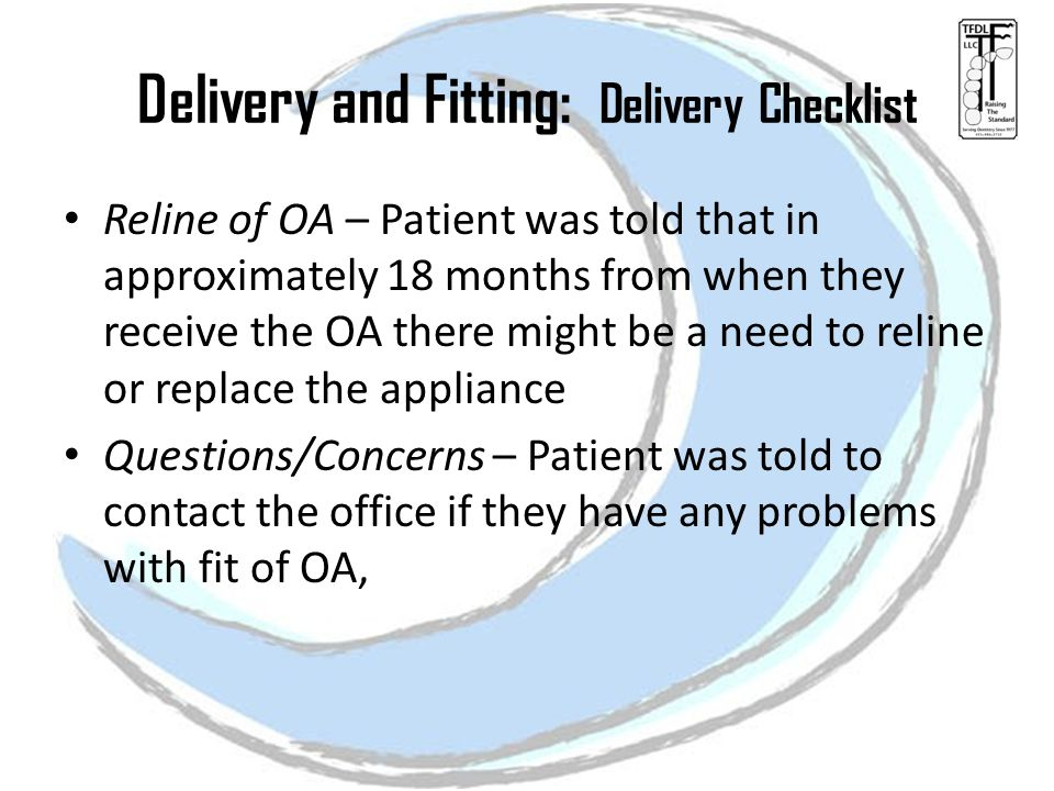 Delivery and Fitting: Delivery Checklist