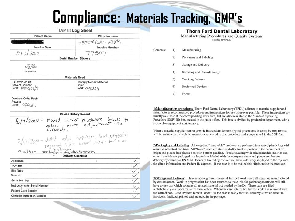 Compliance: Materials Tracking, GMP's