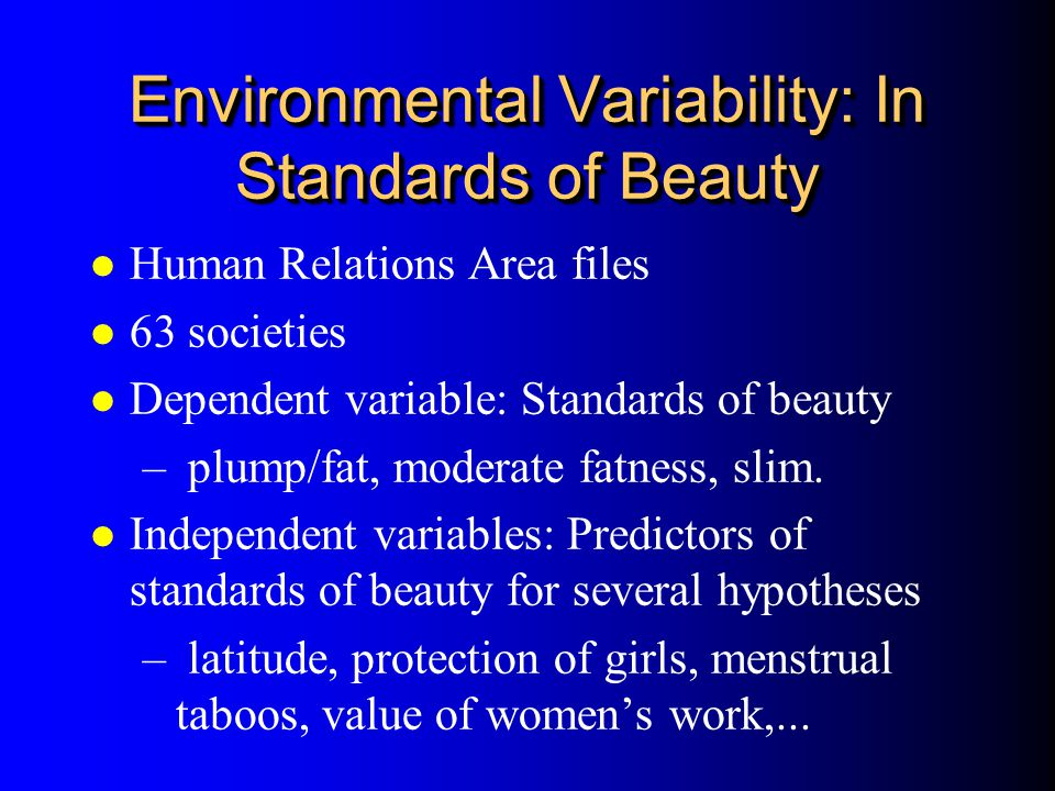 Environmental Variability: In Standards of Beauty