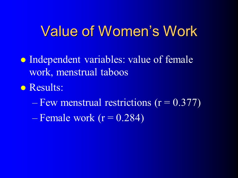 Value of Women's Work Independent variables: value of female work, menstrual taboos. Results: Few menstrual restrictions (r = 0.377)