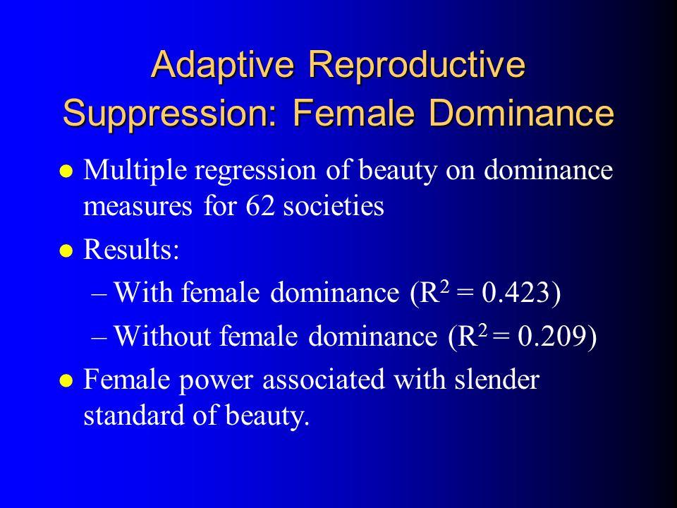 Adaptive Reproductive Suppression: Female Dominance