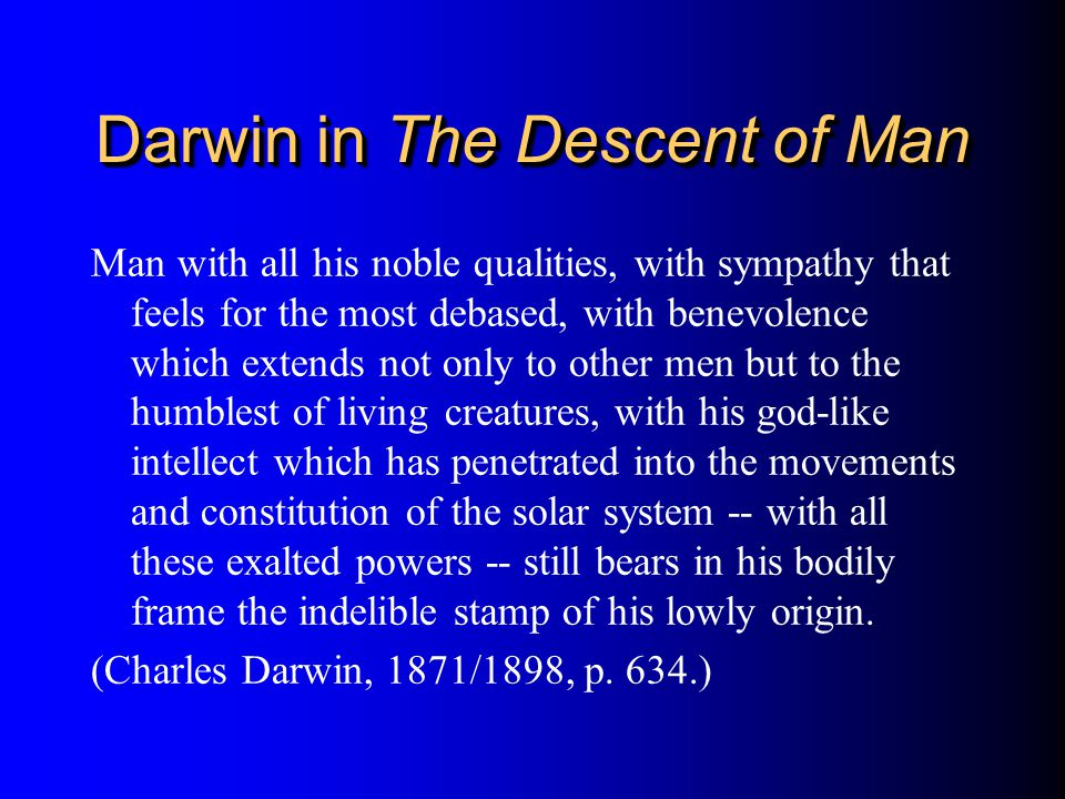 Darwin in The Descent of Man
