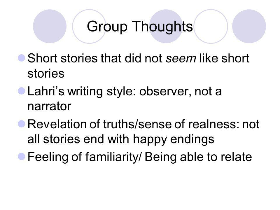 Group Thoughts Short stories that did not seem like short stories