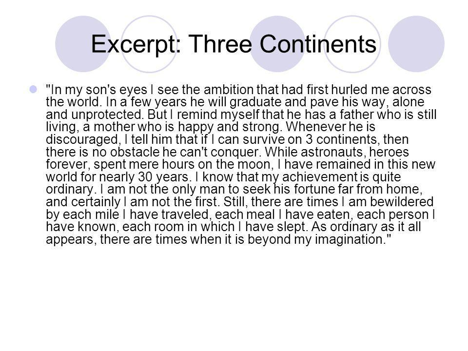 Excerpt: Three Continents