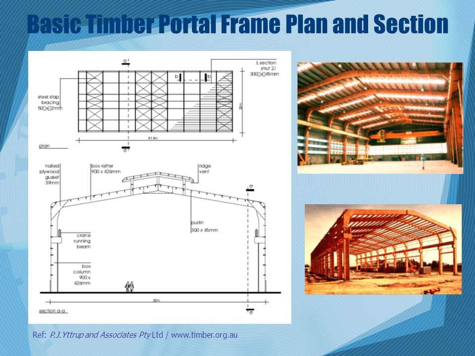 Basic Timber Portal Frame Plan and Section