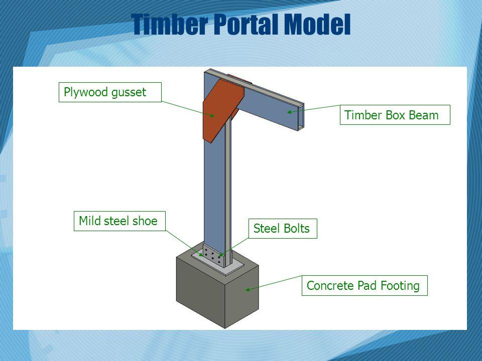 Timber Portal Model Plywood gusset Timber Box Beam Mild steel shoe